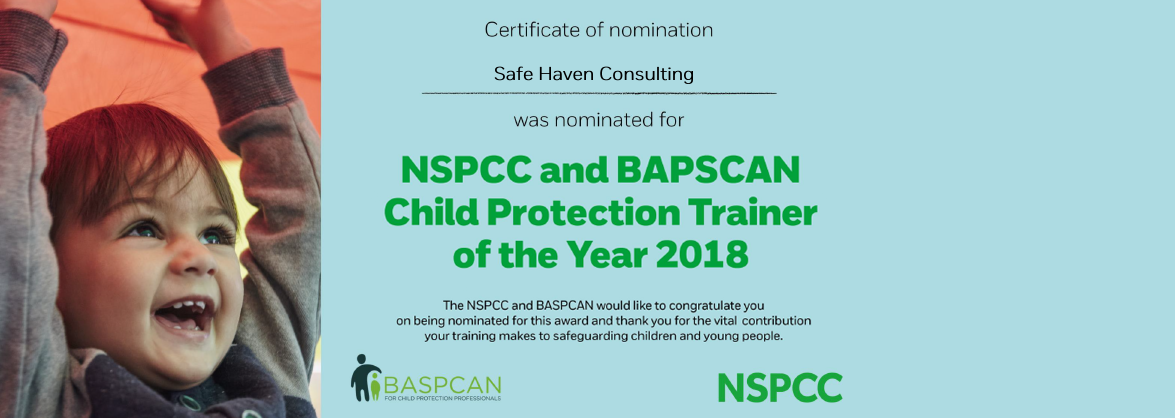 National Nomination - Safe Haven Consulting acknowledged at the Child Protection Trainer of the Year Awards 2018!